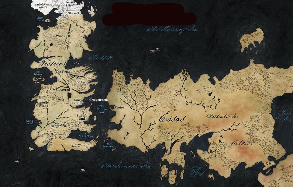 """Karte von den fiktiven Inselstaaten Westeros und Essos aus der Serie """"Game of Thrones"""""""