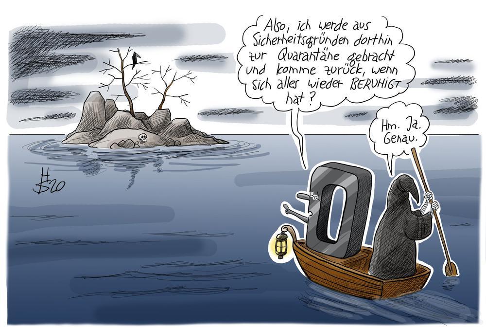 Karikatur mit einem Boot, auf dem eine Schwarze Null zu einer Insel gefahren wird.