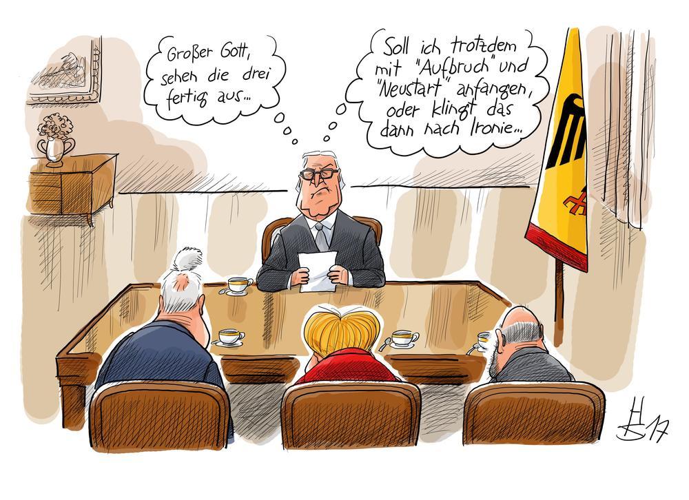 Karikatur von Frank-Walter Steinmeier, der im Bundespräsidialamt Horst Seehofer, Angela Merkel und Martin Schulz gegenüber sitzt. Die drei sind von hinten zu sehen.