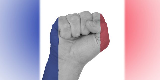 Frankreichfahne mit Faust