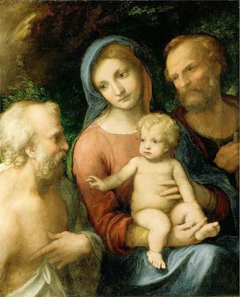 Ölgemälde der Heiligen Familie mit Hieronymus
