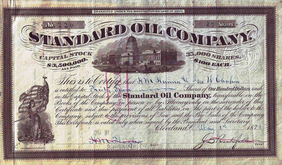 Aktie von Standard Oil in geschwungener Schrift mit einem Bild des US-Kongresses in der oberen Hälfte.