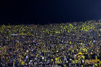 Viele Fans in schwarz-gelben Trikots auf der Tribüne bei der Copa Libertadores in Südamerika.