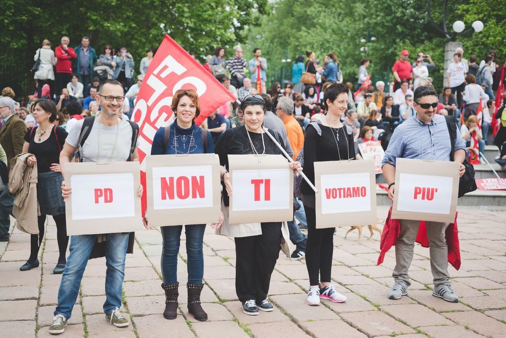 Lehrer und Studenten protestieren in Italien gegen den Partito Democratico (PD).