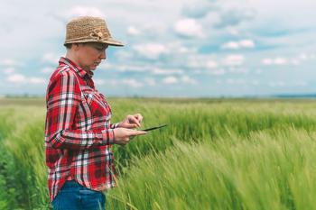 Frau in kariertem Hemd steht auf einem Feld und blickt auf ihr Tablet.