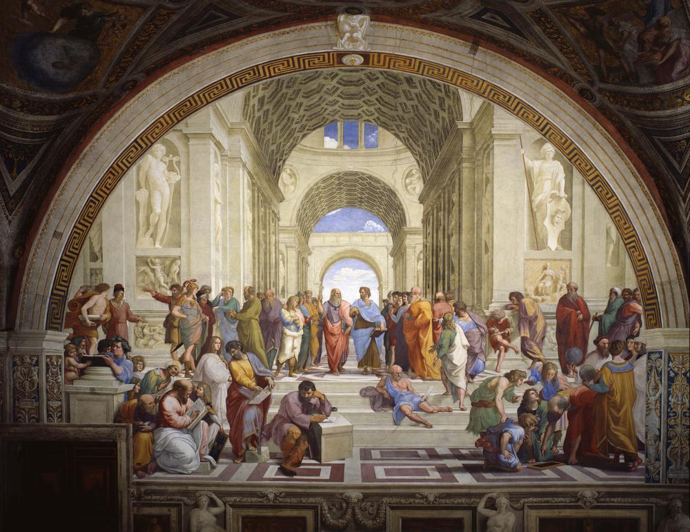 """Frestko """"Schule von Athen"""" aus dem """"Saal der Signatur"""" in den Vatikanischen Museen."""