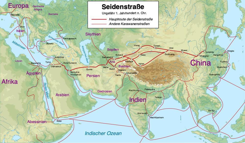 Karte mit der Route der historischen Seidenstraße zur Römerzeit