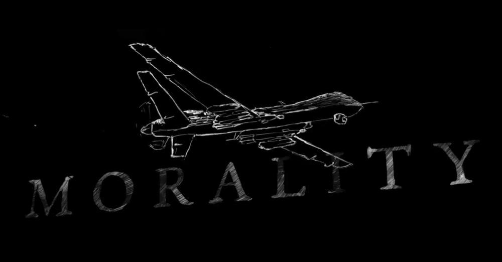 """Kreidezeichnung einer Drohne, darunter das Wort """"morality""""."""