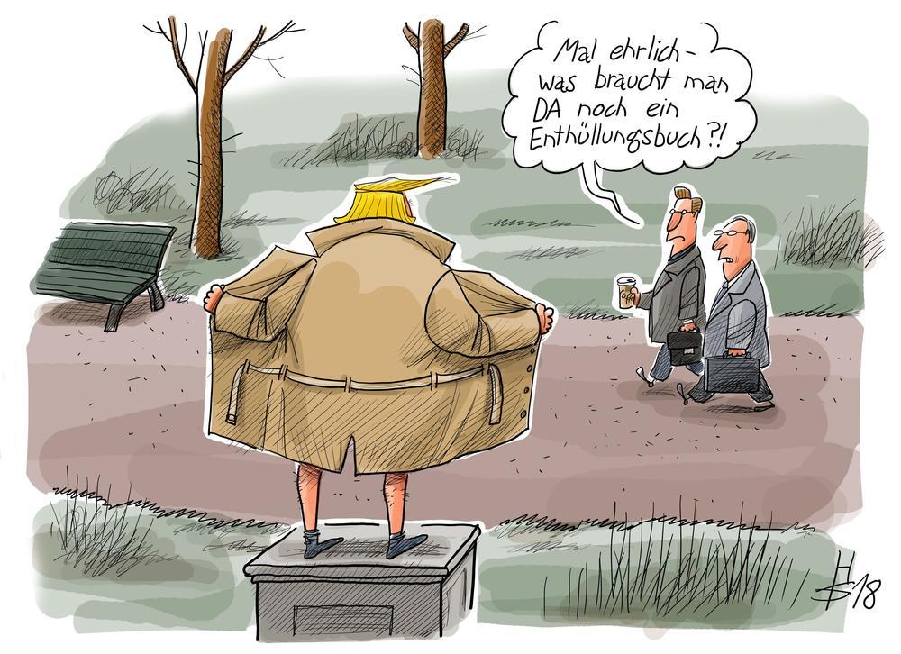 Karikatur von Donald Trump, der mit dem Rücken zum Betrachter auf einem Denkmalsockel steht und nach vorn seinen Mantel aufreißt.