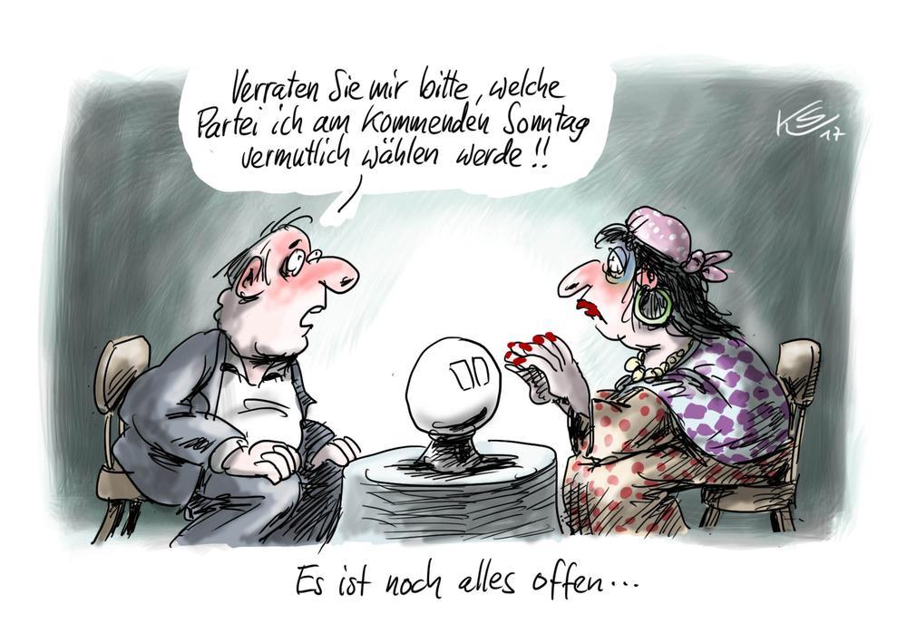 Karikatur mit einer Wahrsagerin, die einem Kunden sagen sol, was er am Sonntag wählen wird.