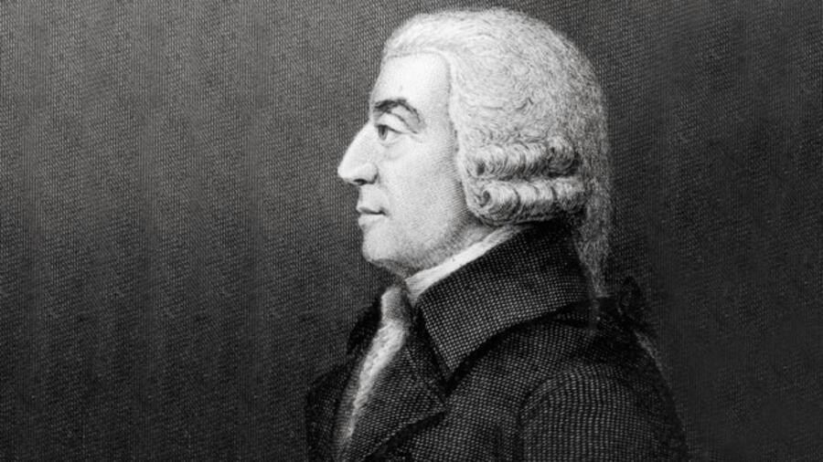 Zeichnung von Adam Smith im Profil