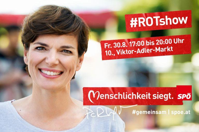 Veranstaltungsplakat der SPÖ für einen Auftritt von Pamela Rendi-Wagner mit deren großem Porträtfoto.