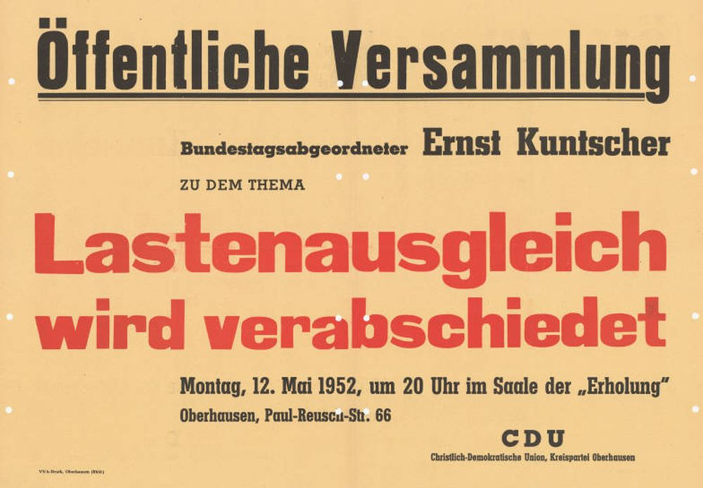 Auf einem schlichten Plakat lädt die CDU Oberhausen zu einer Veranstaltung 1952 zum Thema Lastenausgleich.