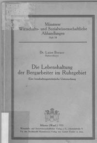 """Buchcover """"Die Lebenshaltung der Bergarbeiter im Ruhgebiet"""