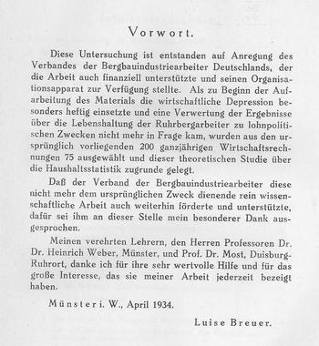 Vorwort der Dissertation von Luise Breuer