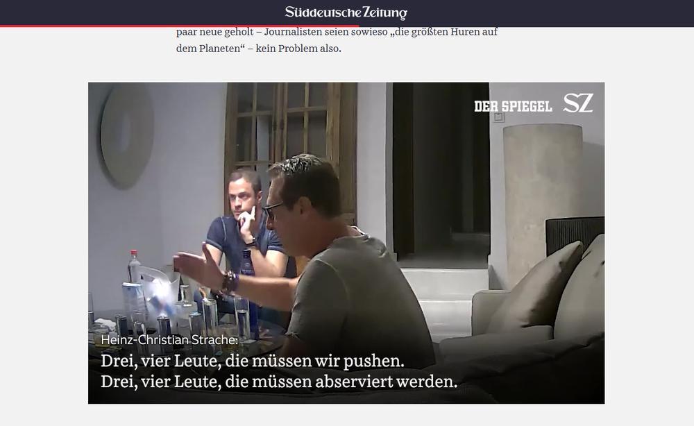 Szene aus dem Video mit Heinz-Christian Strache auf der Seite der Süddeutschen Zeitung.