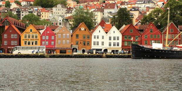Panorama Stadt Bergen, Norwegen