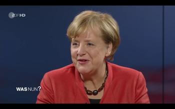 """Angela Merkel in der Fernsehsendung """"Was nun, Frau Merkel?""""."""