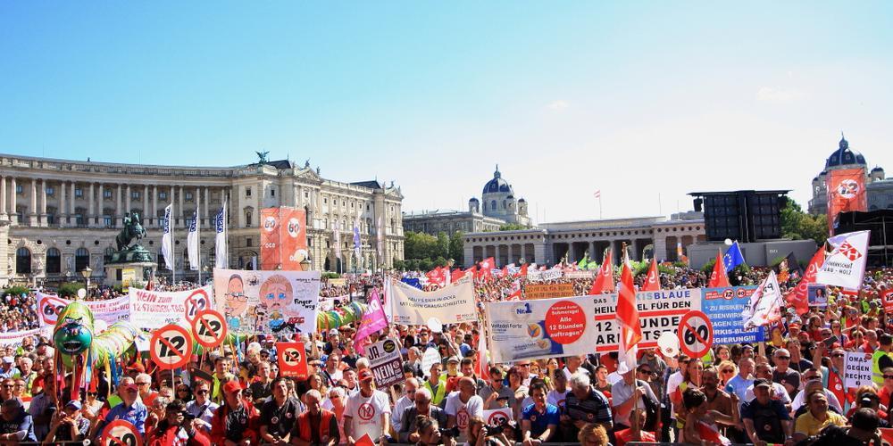 Protestdemonstration gegen den 12-Stunden-TAg