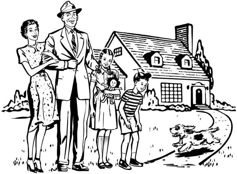 Zeichnung von einer glücklichen Familie auf dem Rasen vor ihrem Haus, vermutlich in den Fünfzigerjahren.