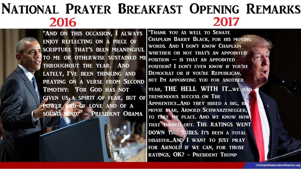 Zeitschriftenseite, auf der links Barack Obama abgebildet ist, darüber sein Text beim National Prayer Breakfast, rechts Trump mit seinem Text, der nichts mit Religion zu tun hat.