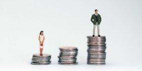 Drei Stapel von Münzen, links ein kleiner, auf der eine Spielzeugfigur einer Frau steht, in der Mitte ein mittlerer, rechts ein höherer, auf der eine Spielzeugfigur eines Mannes steht.
