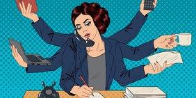 Pop-Art-Zeichnung einer Geschäftsfrau am Schreibtisch im Stile von Superwomen, die mit vielen Händen eine Menge Dinge gleichzeitig tut.