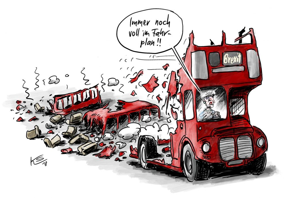 Karikatur mit Theresa May, die einen zerfallenden roten Doppeldeckerbus fährt.