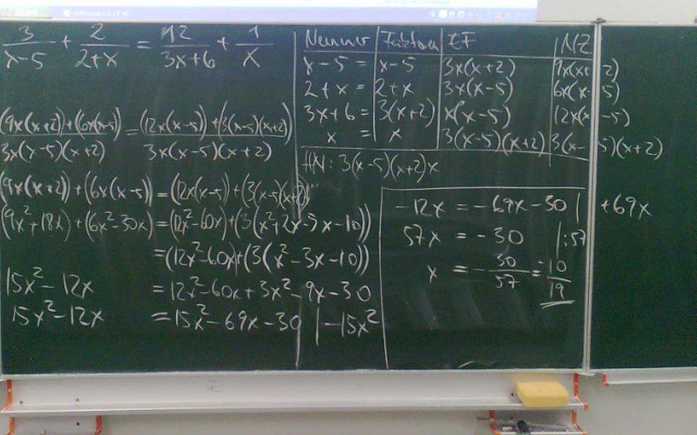 Zahlreiche Formeln mit Kreide auf eine Schultafel gschrieben.