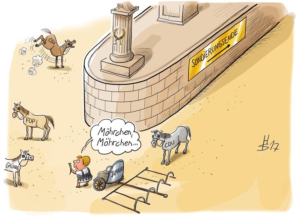 """Karikatur von einem Wagenrennen, bei dem Angela Merkel versucht die Pferde mit den Aufschriften CDU, CSU, FDP und Grüne mit Möhren in das Gespann zu locken, damit sie als Wagenlenkerin zum Ziel """"Sondierungsende"""" fahren kann."""