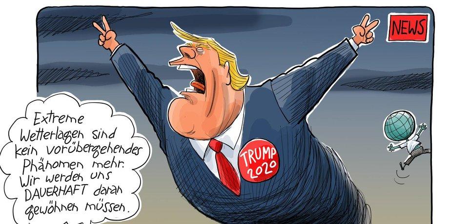 """Karikatur von Donald Trump als Tornado, der einen Anstecker mit der Aufschrift """"Trump 2020"""" trägt."""