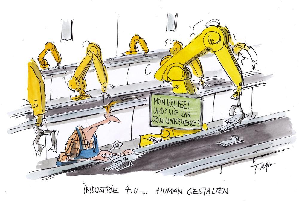 Karikatur von einem Arbeiter zwischen Robotern. Auf dem Display eines der Roboter steht: Moin Kollege! Und? Wie war Dein Wochenende?