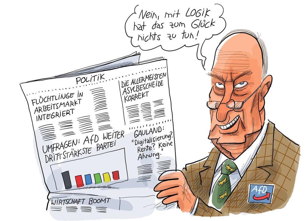 Karikatur von Alexander Gauland, der Zeitung liest. Die Schlagzeile ist: AfD weiter drittstärkste Partei!