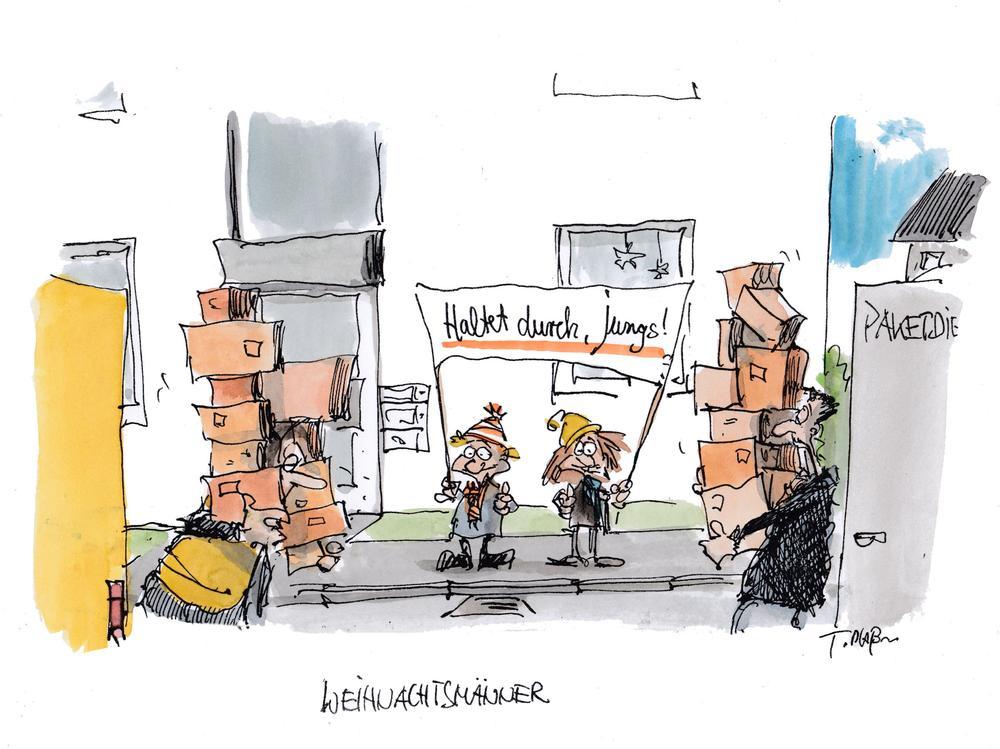 Karikatur mit zwei Paketboten während der Weihnachtszeit, denen ein Junge zuruft: Haltet durch!