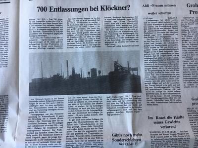 Eine Seite der Nullnummer der Tageszeitung taz mit Wirtschaftsthemen.