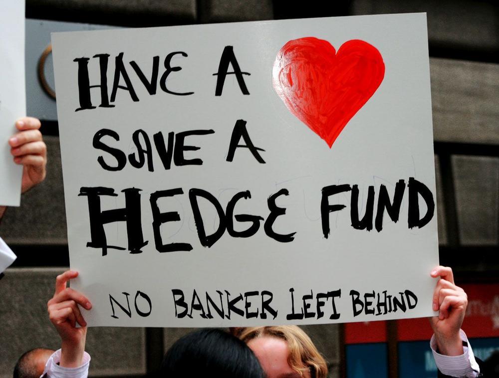 Protest gegen die Bankenrettung in der Wall Street formierte sich unmittelbar 2008 - mit Galgenhumor.