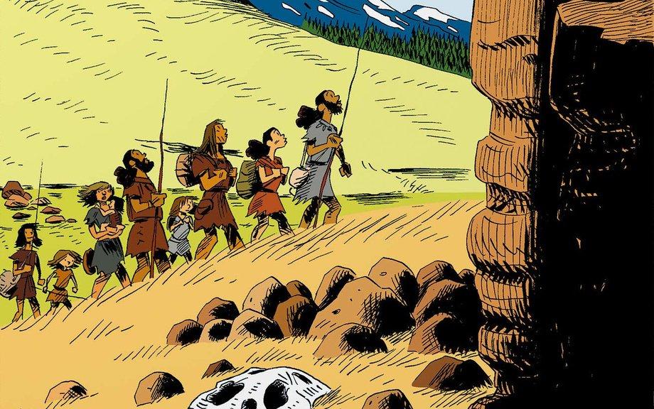 Cartoon-Bild von Menschen mit Speeren, die über eine Wiese leicht bergan gehen. Im Hintergrund sind Mammuts zu sehen.