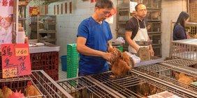Lebende Hühner stehen in Käfigen auf einem Marktstand in China. Der Verkäufer hält ein Huhn an den Krallen in der Hand. Schilder geben die Preise an.