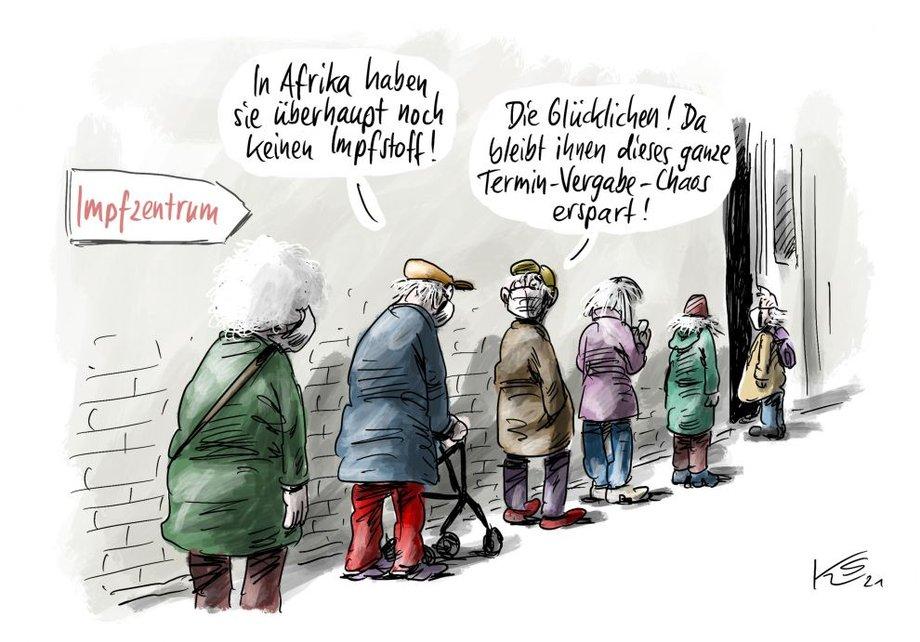 """Karikatur von älteren Menschen, die für eine Covid-19-Impfung anstehen. Ein Schild weist den Weg Richtung """"Impfzentrum""""."""