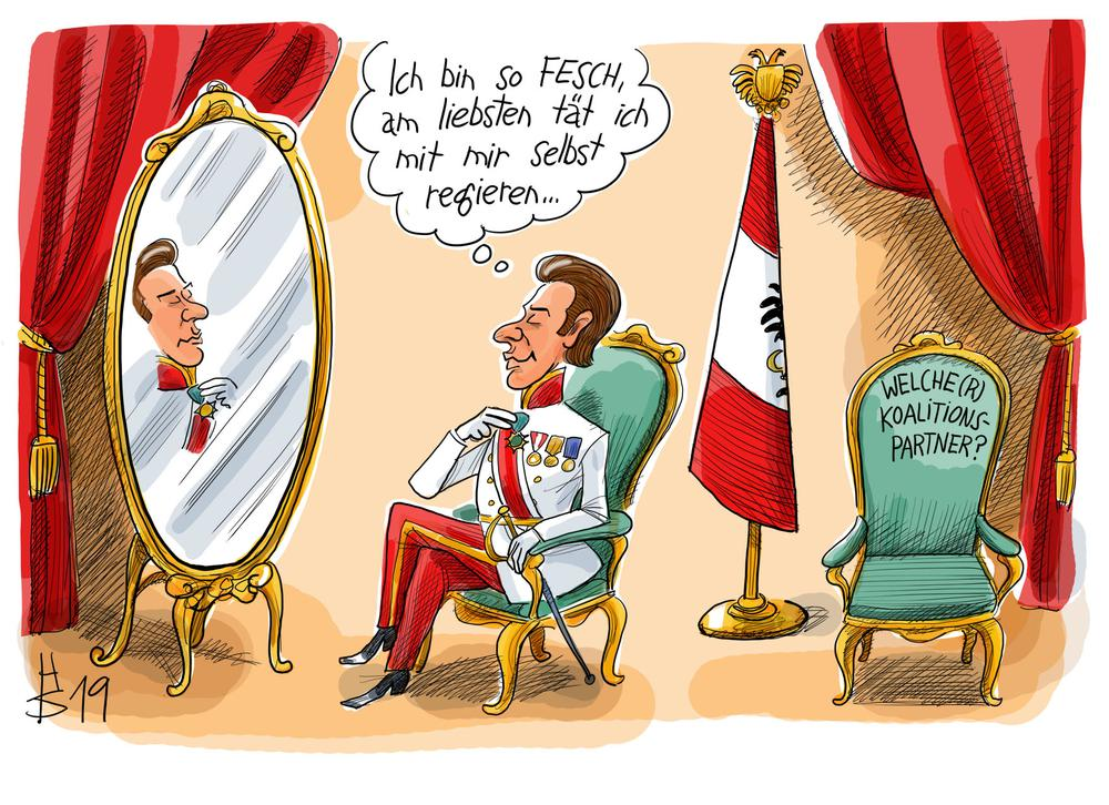 Karikatur von Sebastian Kurz in Parade-Uniform aus der Zeit von Kaiser Franz-Joseph. Sprechblase darüber: Ich bin ja so fesch, am liebsten würde ich mit mir selbst regieren.