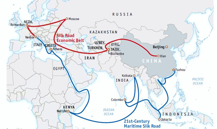 Karte von der Neuen Seidenstraße von China nach Europa.