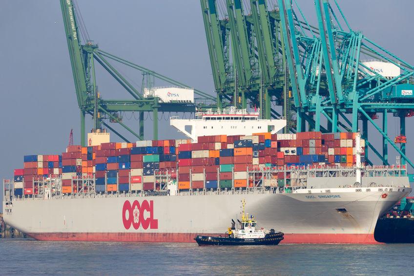 Ein Containerschiff wird in einem Hafen beladen.