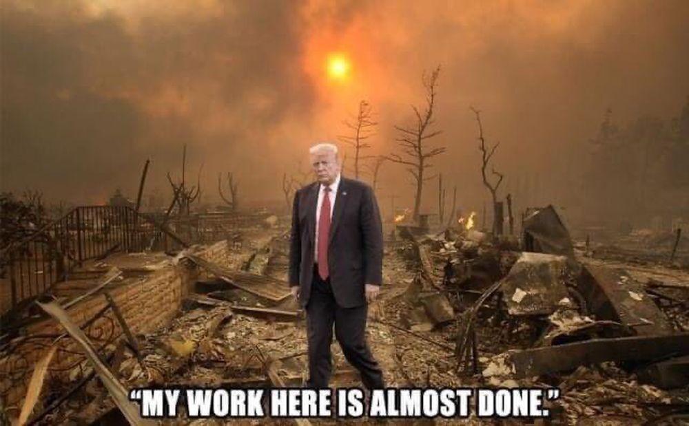 Fotomontage von Donald Trump, der im Vordergrund vor einer Trümmerlandschaft steht.