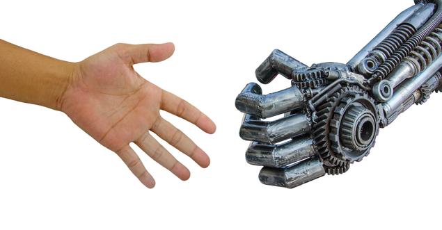 Menschenhand Roboterhand