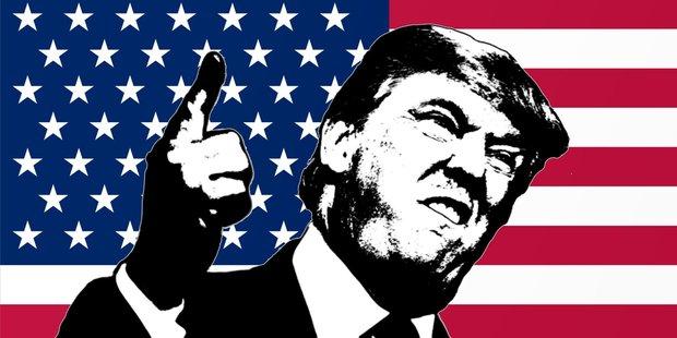 Donald Trump Zeichnung vor einer US-Flagge