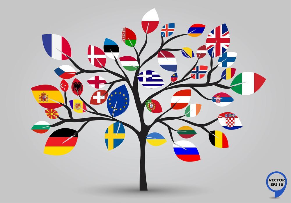 Zeichnung von einem Baum mit den europäischen Flaggen als Blättern.