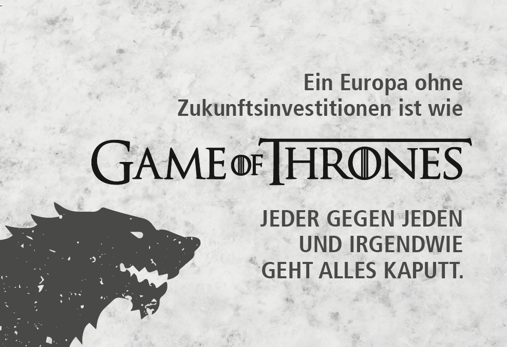 Bild mit dem Game of Thrones Logo und einem Wolfskopf links unten.