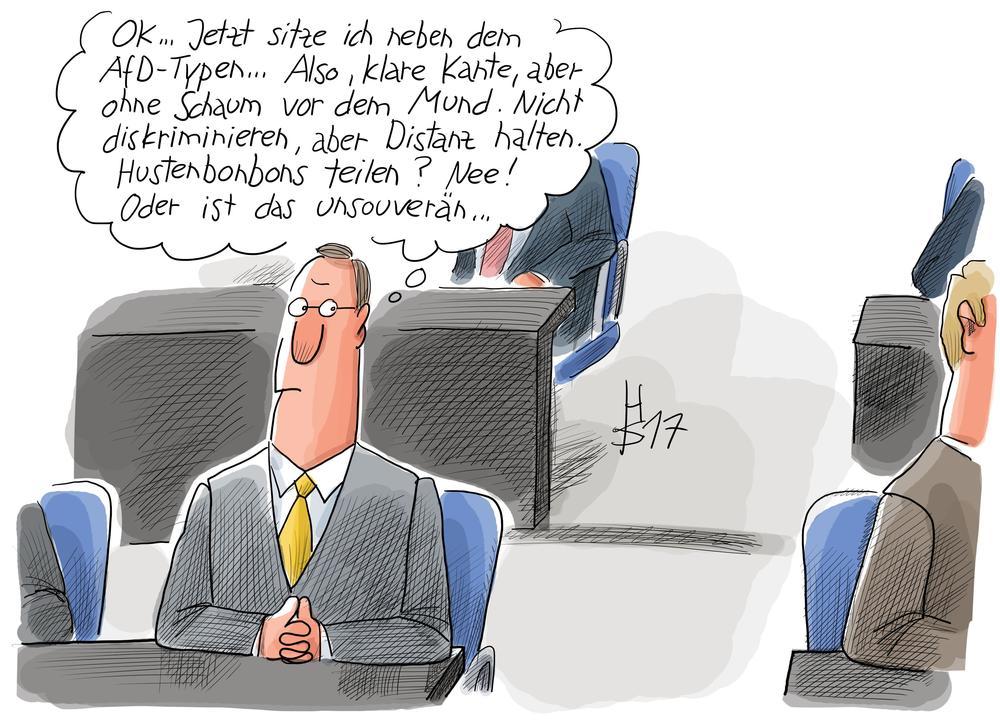 Karikatur von einem Bundestagsabgeordneten, der im Parlament sitzt und überlegt, wie er sich am besten vom dem AfD-Kollegen distanziert.