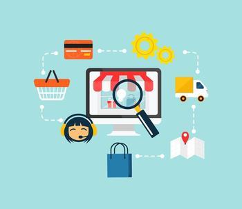 Symbolbild zum Internethandel mit kleinen Symbolen für Einkaufskorb, Kreditkarte, Einkaufstasche etc.