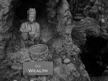 Figur eines Gottes in einem Hindu-Tempel in Los Angeles